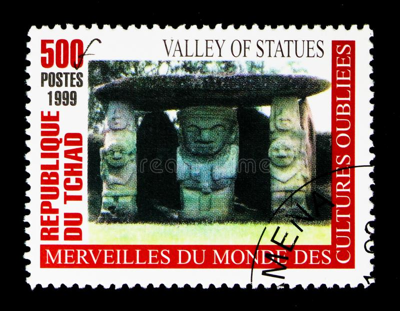 Valley of Statues, Wonders of forgotten Cultures serie, circa 20. MOSCOW, RUSSIA - DECEMBER 21, 2017: A stamp printed in Chad shows Valley of Statues, Wonders of royalty free stock photo