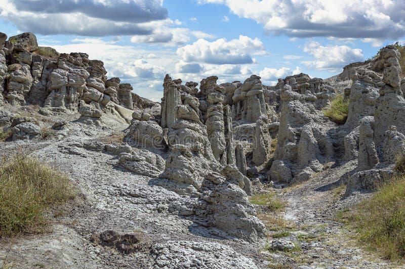 Valley of stone dolls, Macedonia. Stone dolls at rocky hills at village Kuklica near Kratovo, Macedonia stock images
