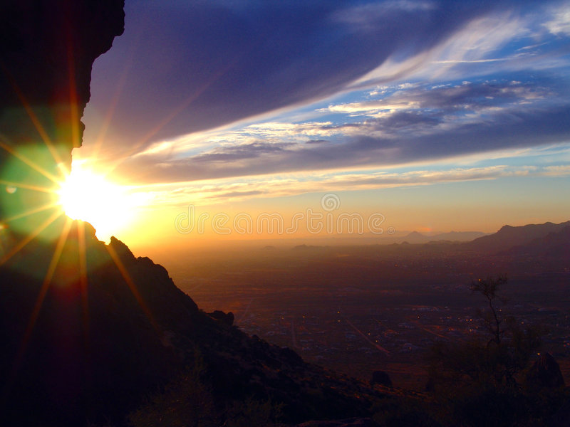 Valley of the Sun. Phoenix Sunset from Superstition Mountain stock photo