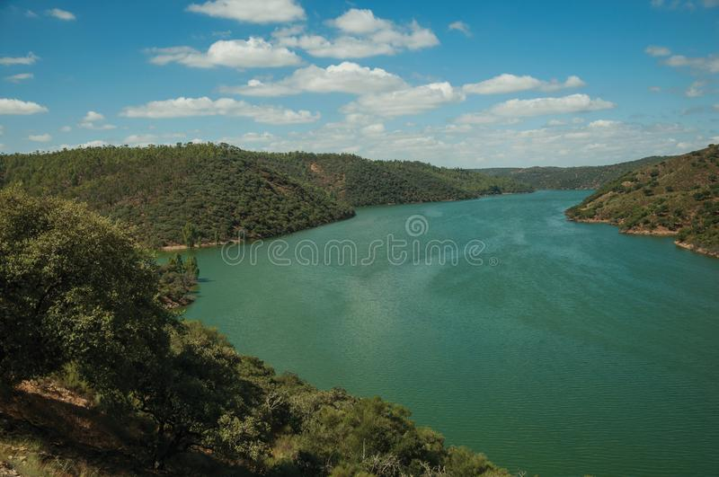 Valley with the Tagus River at the Monfrague National Park stock photo