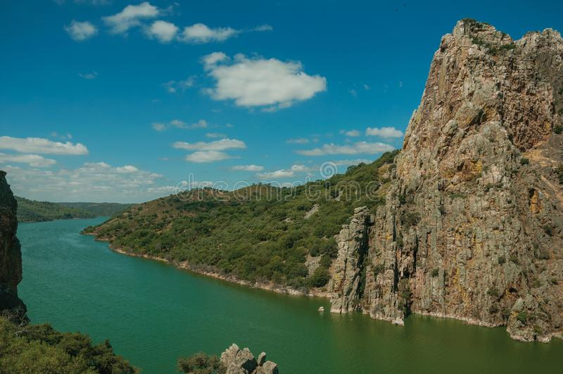 Valley with the Tagus River and rocky hills at the Monfrague National Park stock photo