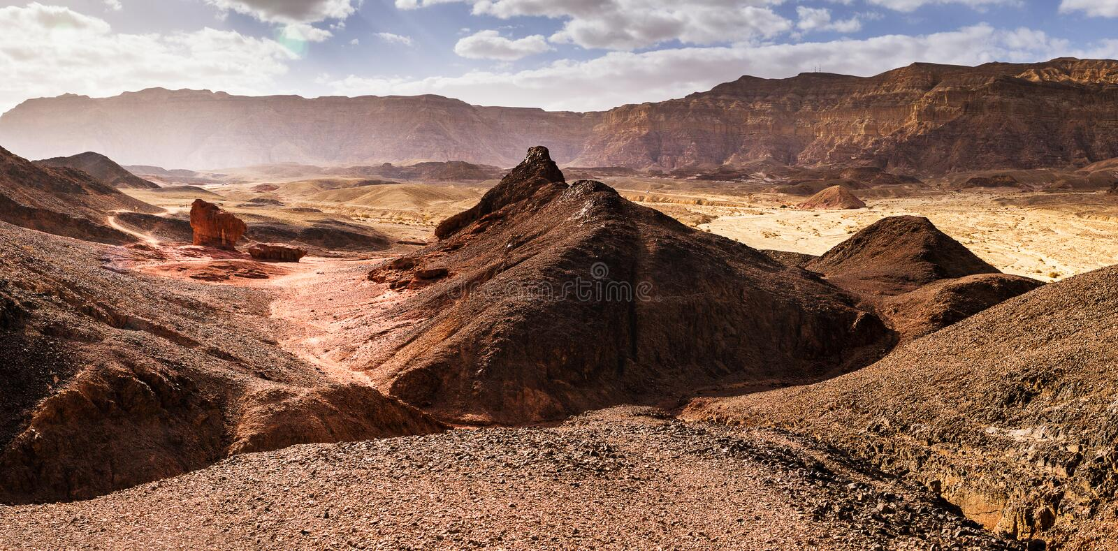 Valley in Timna park desert, Israel royalty free stock photo