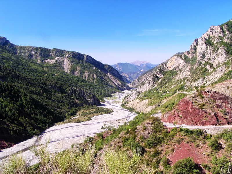 Valley of Var river in Provence/France. Valley or canyon of Var river in Provence/France stock images