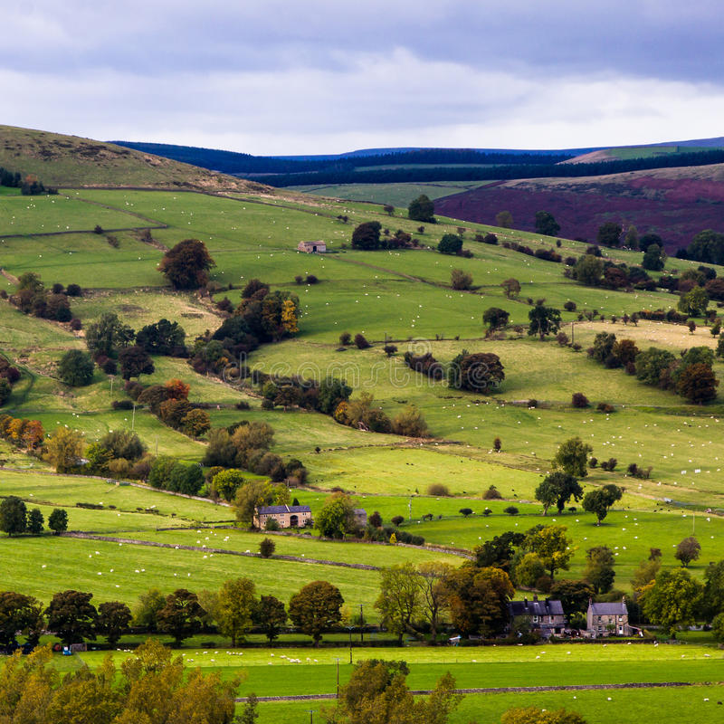 Valley view Castleton. Derbyshire England stock images