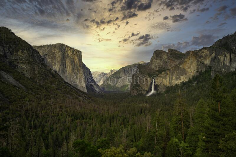 Valley view in yosemite national park stock photography