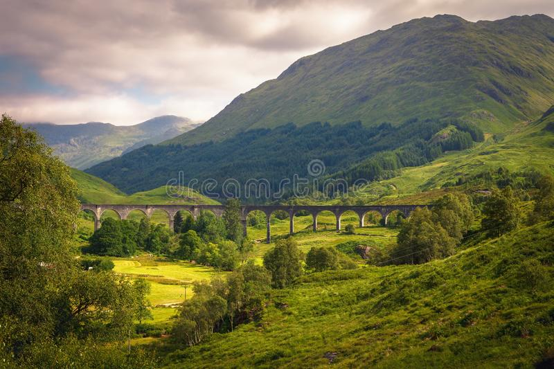 Valley where is located Glenfinnan railway viaduct in Scotland, stock photos