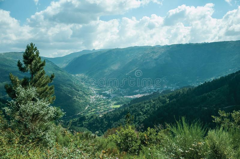 Valley of Zezere River with small village underneath stock photography