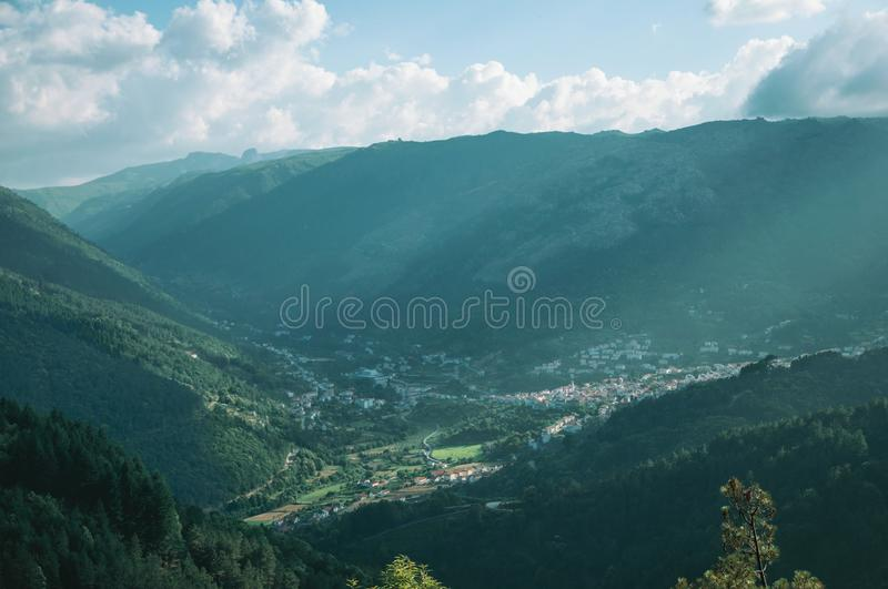 Valley of Zezere River with village underneath royalty free stock images