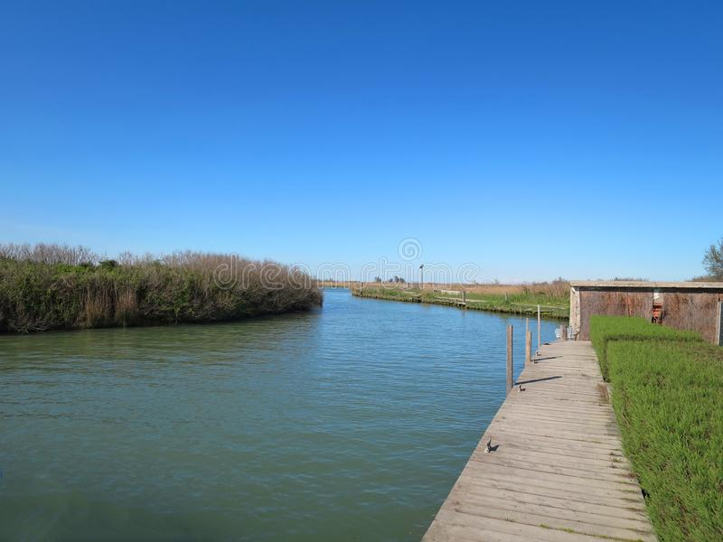 Valleys of Comacchio delta of the Po Emilia Romagna Italy.  royalty free stock images