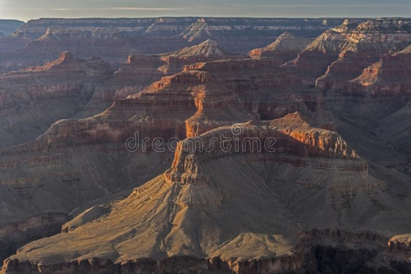 Valleys and ravines make up the landscape of The Grand Canyon. Unique rock formations make up the Grand Canyon stock photography