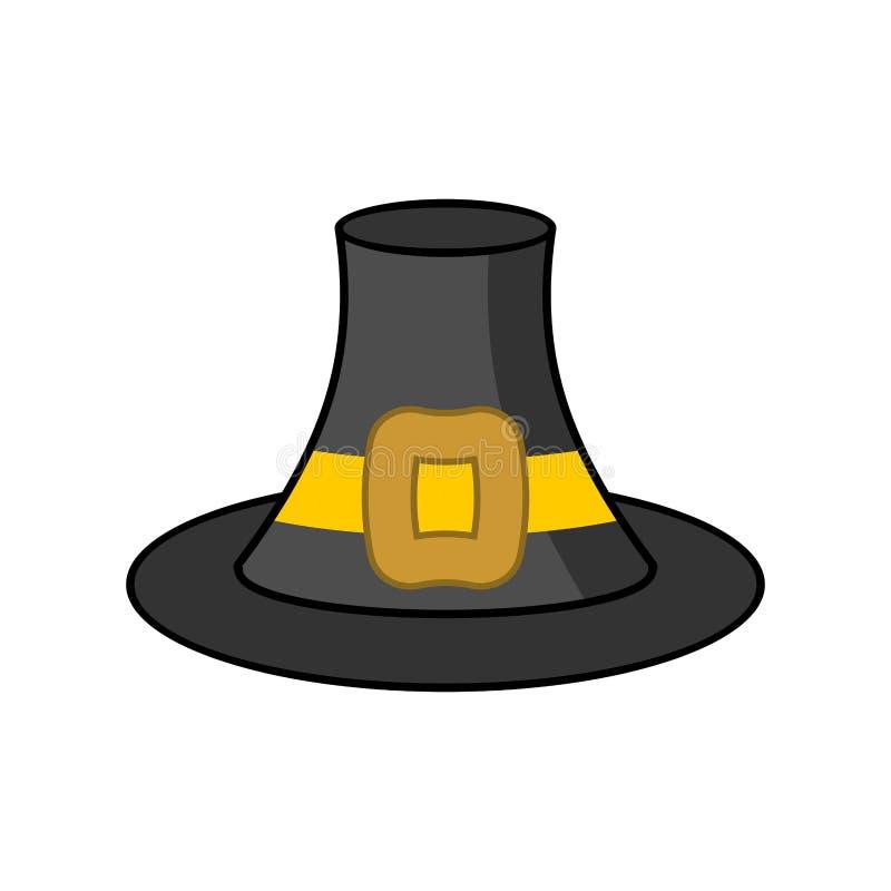 Vallfärda den isolerade hatten Gammal svart lockhandelsresande på vit bakgrund royaltyfri illustrationer