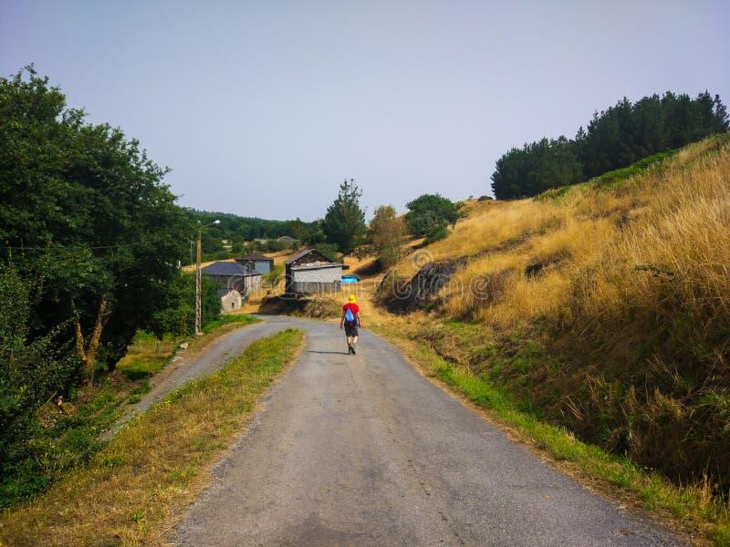 Vallfärda med den gula hatten som går till och med en lantlig väg runt om äng Camino de Santiago Primitivo royaltyfri fotografi