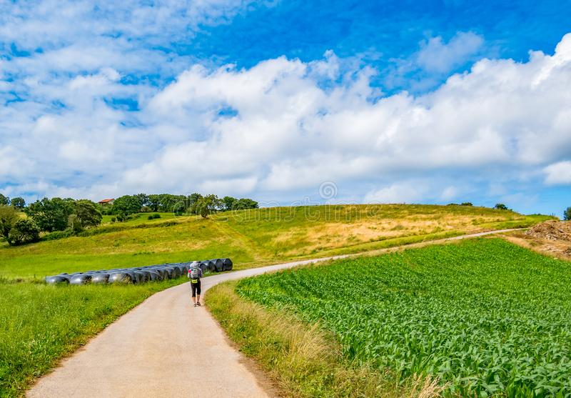 Vallfärda med ryggsäcken som går Caminoen de Santiago i Spanien, Camino del Norte, väg av St James fotografering för bildbyråer