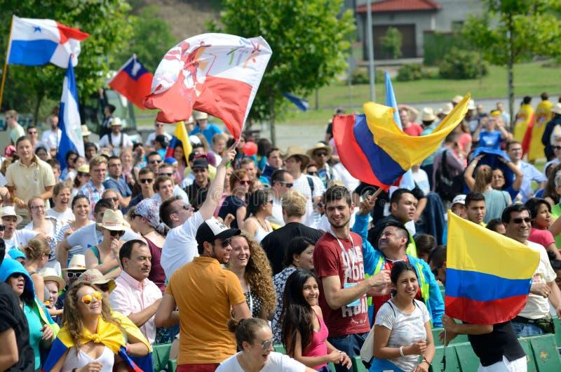 Vallfärdar med flaggor, världsungdomdagen 2016 royaltyfria bilder