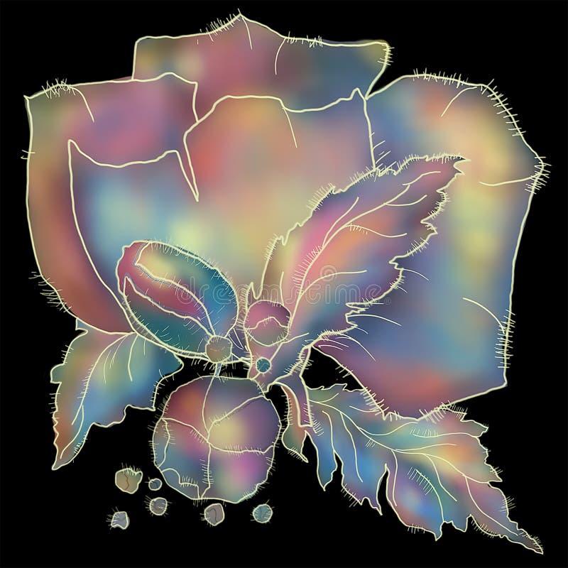 Vallmoblomma av violetta och bl?a toner p? svart bakgrund royaltyfria foton