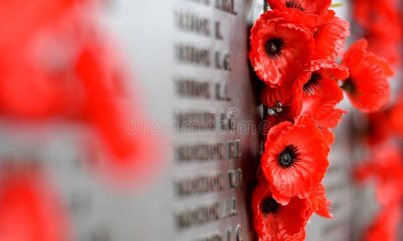 Vallmoväggen listar namnen allra australierna som dog i service av arméer arkivfoto