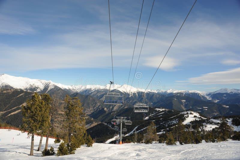 VallNord, стул El Cubil подъема лыжи, приятель участка, княжество Андорры, восточных Пиренеи, Европы стоковая фотография rf