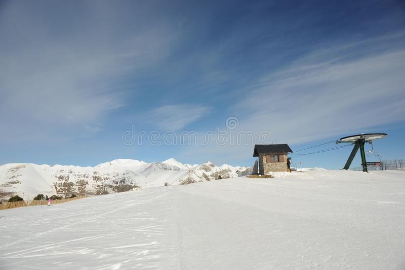 Vallnord narciarski dźwignięcie Coll De Los angeles Botella, Europa ksiąstewko Andorra wschodni Pyrenees sektor narciarstwo kumpe obraz royalty free