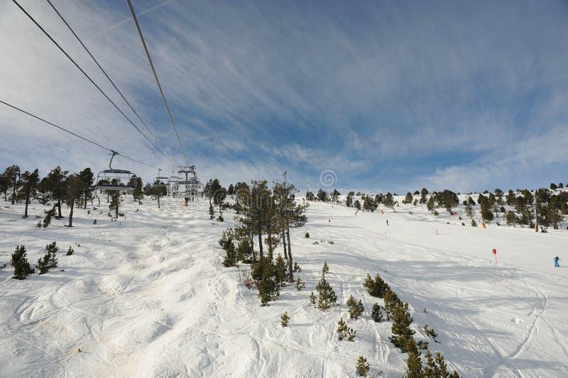 VallNord narciarskiego dźwignięcia krzesło El Cubil i skłon Cubil ksiąstewko Andorra wschodni Pyrenees, Europa obrazy royalty free