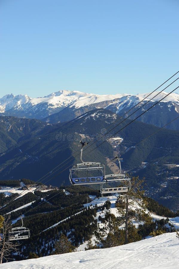 VallNord narciarskiego dźwignięcia krzesło El Cubil i skłon Cubil ksiąstewko Andorra wschodni Pyrenees, Europa fotografia stock