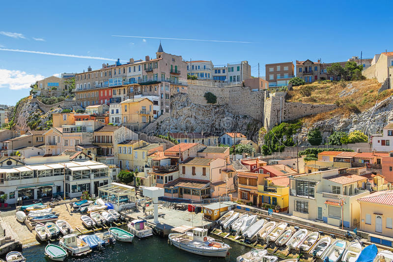 Vallon des Auffes is a little traditional fishing haven in Marseille. France royalty free stock images