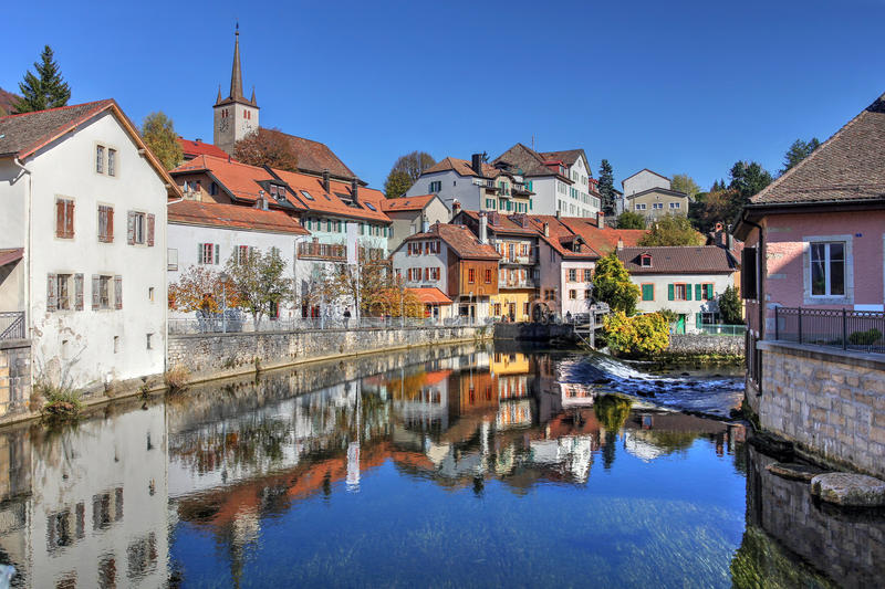 Vallorbe, Switzerland. Cityscape of Vallorbe in the Jura Region of Switzerland along the river Orbe royalty free stock photos