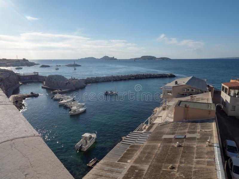 Valon des Aufes in Marseille, France. Marseille/France - November 18 2018: Vallon des Auffes. This is a little traditional fishing haven in Marseille in the 7th stock image