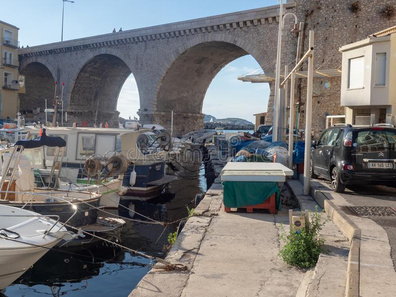 Valon des Aufes in Marseille, France. Marseille/France - November 18 2018: Vallon des Auffes. This is a little traditional fishing haven in Marseille in the 7th royalty free stock photo