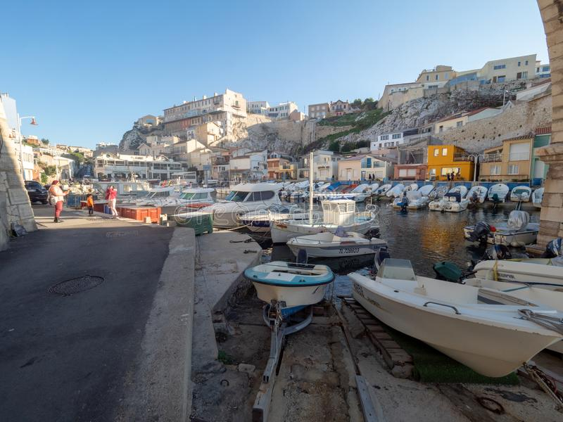 Valon des Aufes in Marseille, France. Marseille/France - November 18 2018: Vallon des Auffes. This is a little traditional fishing haven in Marseille in the 7th royalty free stock photography