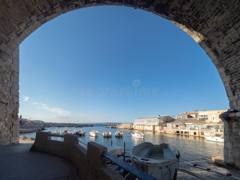 Valon des Aufes in Marseille, France. Marseille/France - November 18 2018: Vallon des Auffes. This is a little traditional fishing haven in Marseille in the 7th royalty free stock photos
