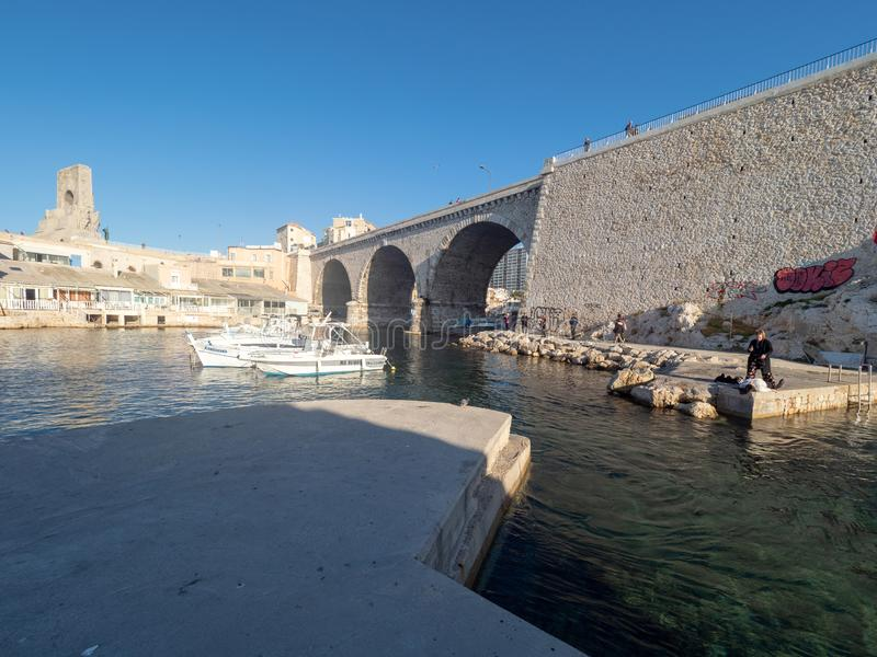 Valon des Aufes in Marseille, France. Marseille/France - November 18 2018: Vallon des Auffes. This is a little traditional fishing haven in Marseille in the 7th stock photography