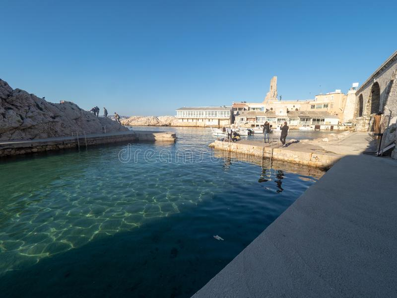 Valon des Aufes in Marseille, France. Marseille/France - November 18 2018: Vallon des Auffes. This is a little traditional fishing haven in Marseille in the 7th stock photos