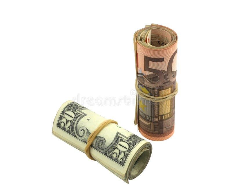 Valor de aumento del euro sobre dólar foto de archivo