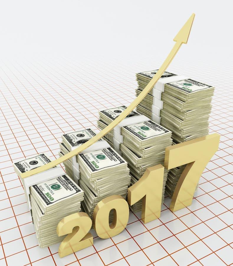 Valor de aumento do dólar americano em 2017 ilustração royalty free