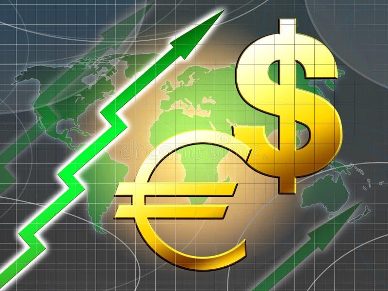 Valor de aumento do euro e do dólar ilustração royalty free