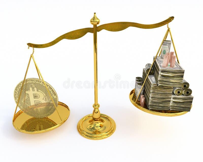 Valor de Bitcoin em uma escala fotografia de stock