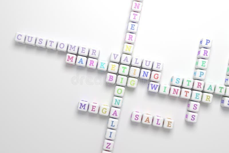 Valor del cliente, crucigrama de comercialización de la palabra clave Para la p?gina web, el dise?o gr?fico, la textura o el fond ilustración del vector