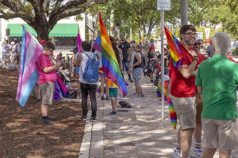 Valor del lago, la Florida, los E.E.U.U. 31 de marzo de 2019 antes, Palm Beach Pride Parade fotografía de archivo libre de regalías