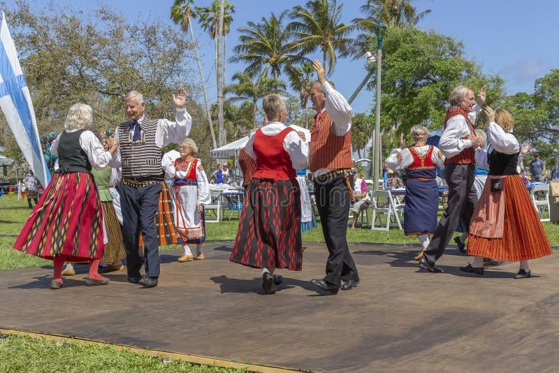 Valor do lago, Florida, EUA festival de Sun da meia-noite do 3 de março de 2019 que comemora a cultura finlandesa fotos de stock