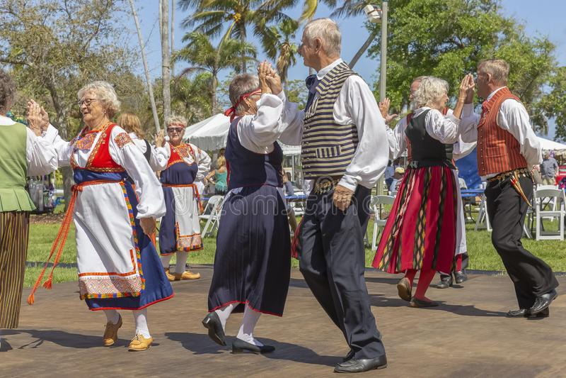 Valor do lago, Florida, EUA festival de Sun da meia-noite do 3 de março de 2019 que comemora a cultura finlandesa imagem de stock