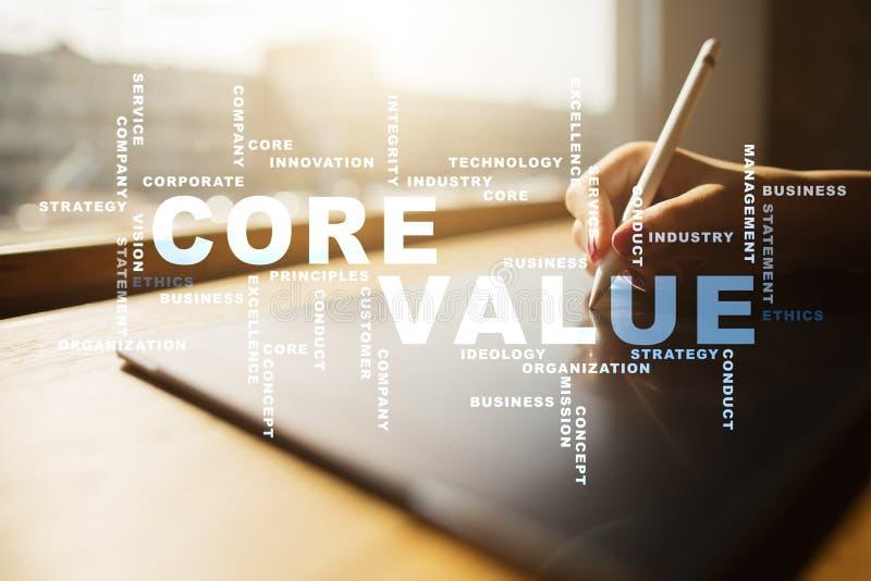 Valor do núcleo na tela virtual Conceito do negócio Nuvem das palavras foto de stock