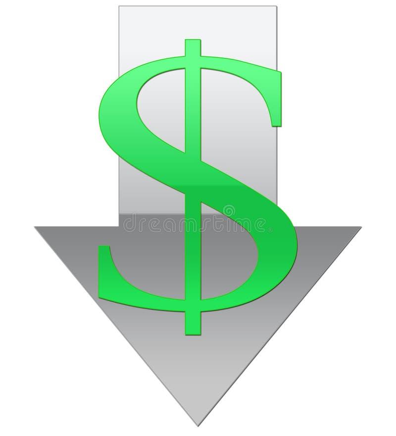 Valor fraco do dólar ilustração do vetor
