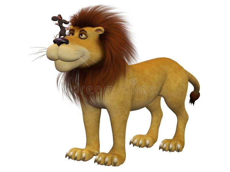 Valor, ratón de la historieta 3d con un león ilustración del vector