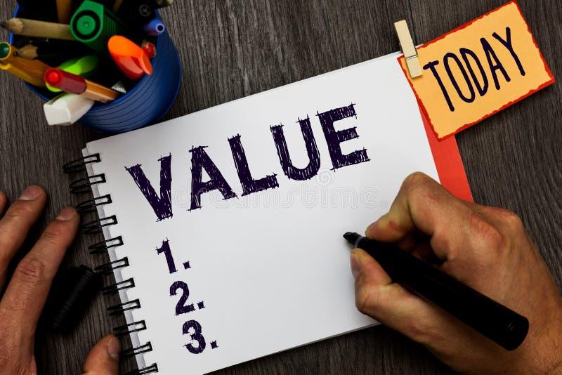 Valore del testo della scrittura Giudizio di comportamento di principi o di norme di significato di concetto che importante nella immagine stock