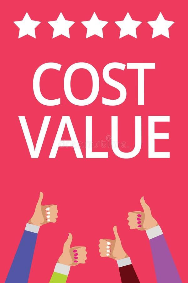 Valore di costo del testo di scrittura di parola Concetto di affari per l'importo che solitamente pagato per un oggetto che compr illustrazione vettoriale