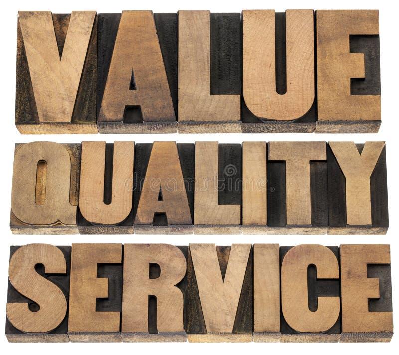 Valore, qualità, servizio fotografia stock