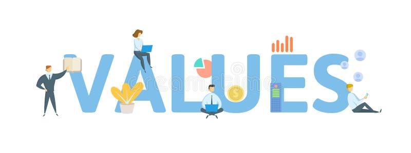 valores Concepto con la gente, las letras y los iconos Ejemplo plano del vector Aislado en el fondo blanco stock de ilustración