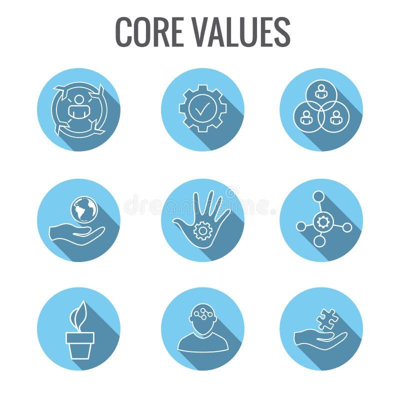 Valores de la base con la imagen de la responsabilidad social - ética empresarial a stock de ilustración
