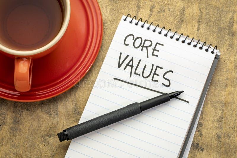 Valores de la base - escritura en cuaderno fotos de archivo libres de regalías