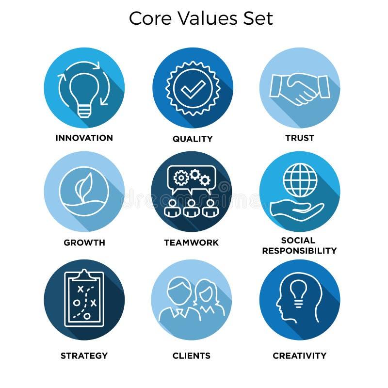 Valores de la base - la misión, icono del valor de la integridad fijó con la visión, hon ilustración del vector